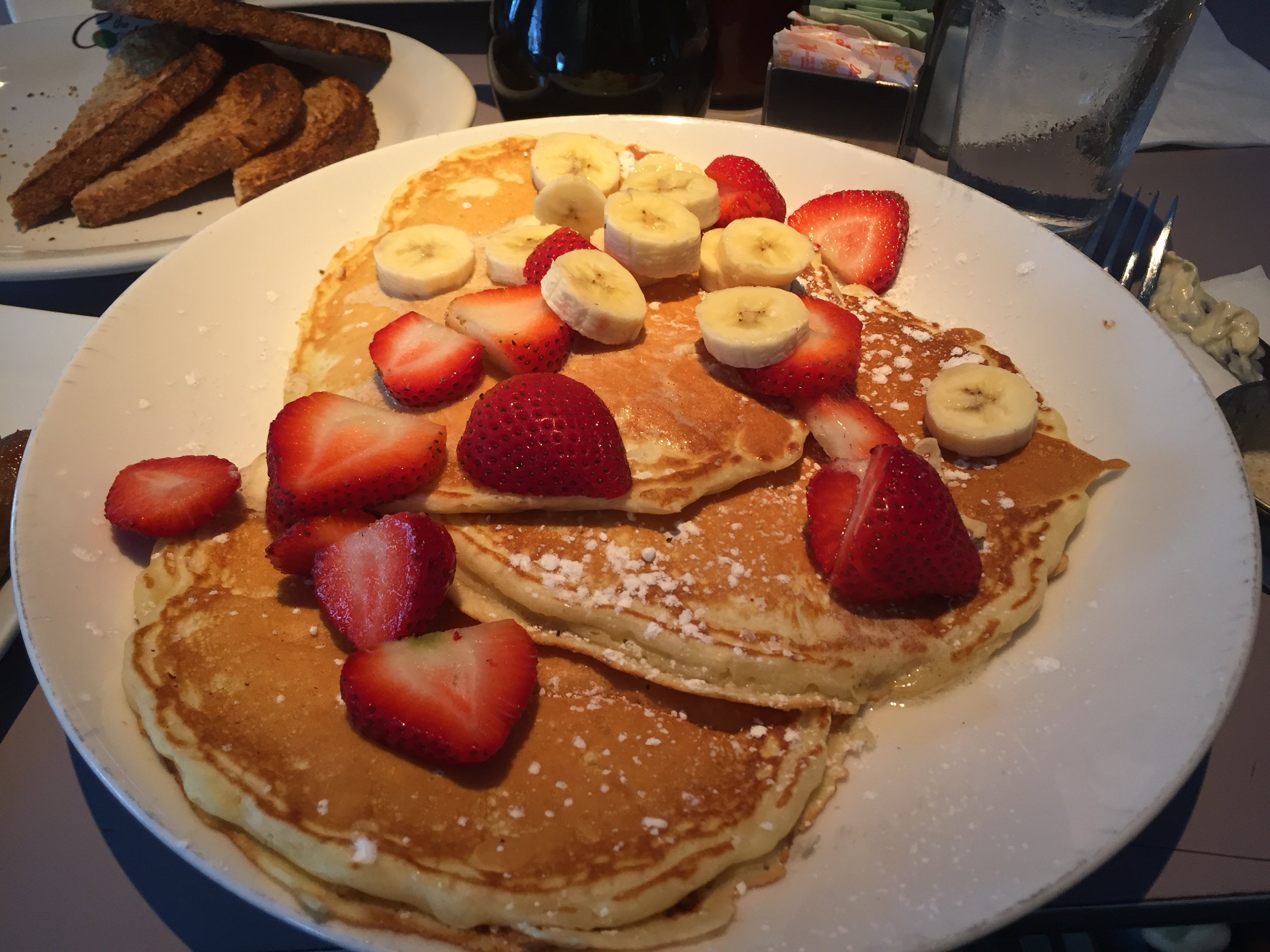 Buttermilk Pancakes with Strawberries and Bananas