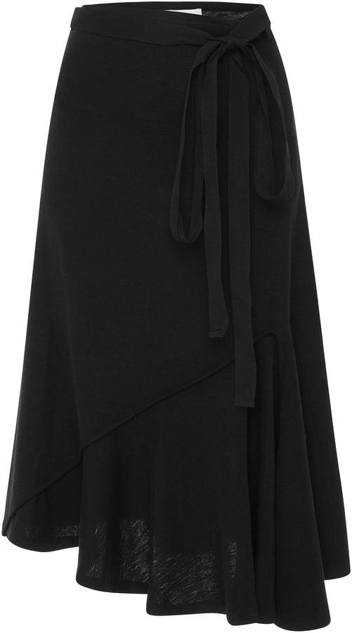 JW Anderson Asymmetric Draped Midi Wool Skirt