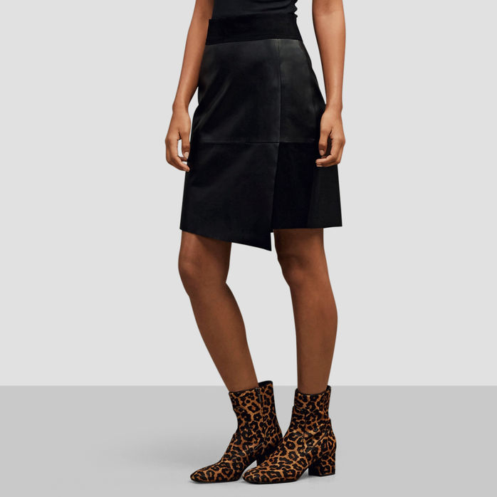 Kenneth Cole New York Suede and Leather Mini Skirt.jpg