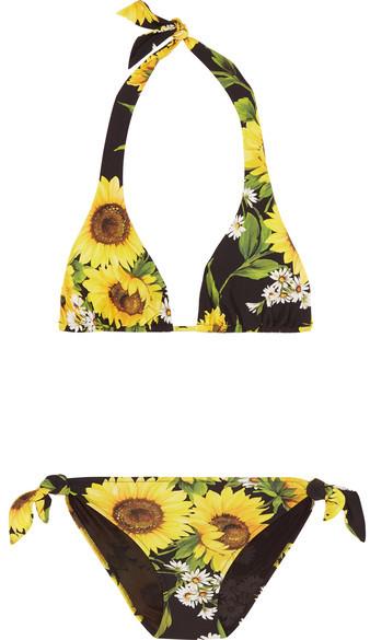 Dolce & Gabbana Floral Print Halterneck Triangle Bikini.jpg