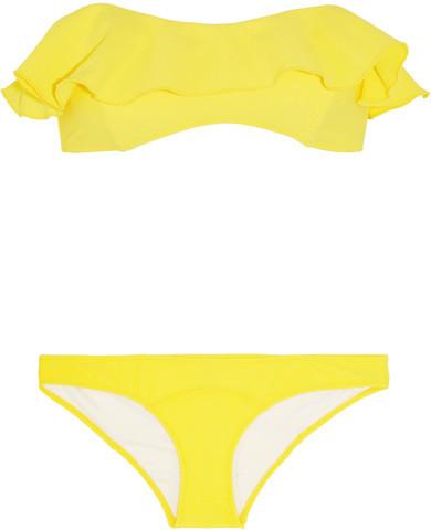 Lisa Marie Fernandez Natalie Flounce Ruffled Crepe Bandeau Bikini